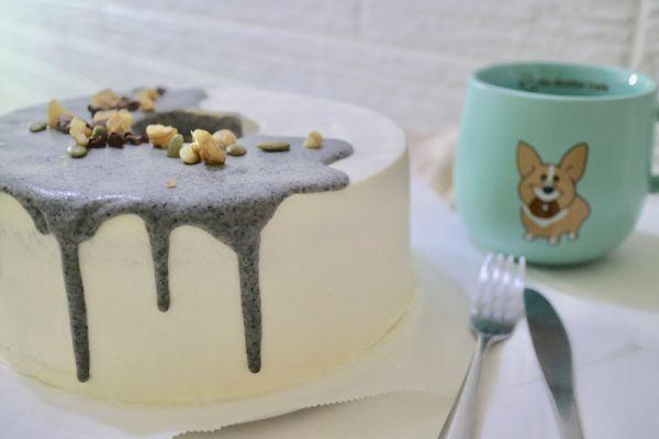 黑芝麻穆斯琳戚風蛋糕 黑芝麻、戚風、生日蛋糕