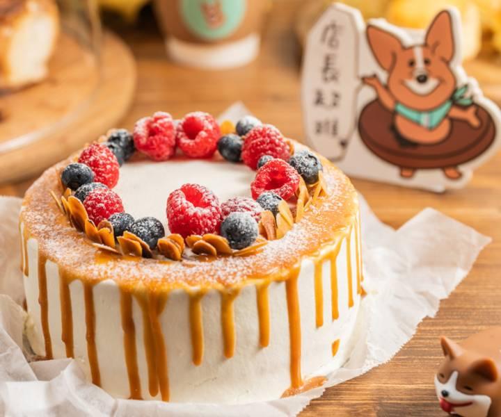 焦糖莓果卡士達戚風  生日蛋糕,水果蛋糕