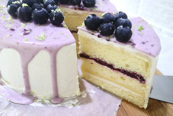 檸香藍莓戚風 水果蛋糕.水果戚風,檸檬藍莓蛋糕
