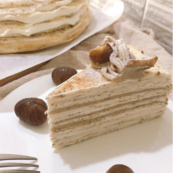 奶油栗千層 栗子、千層蛋糕、蘭姆酒