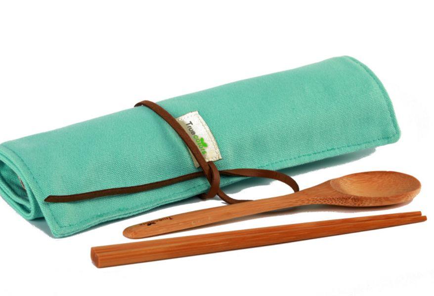摺疊環保餐具棉布套(不含餐具) 個性木製環保餐具