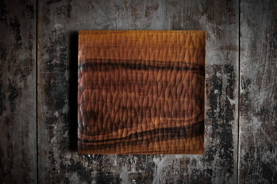 正方手刻木盤