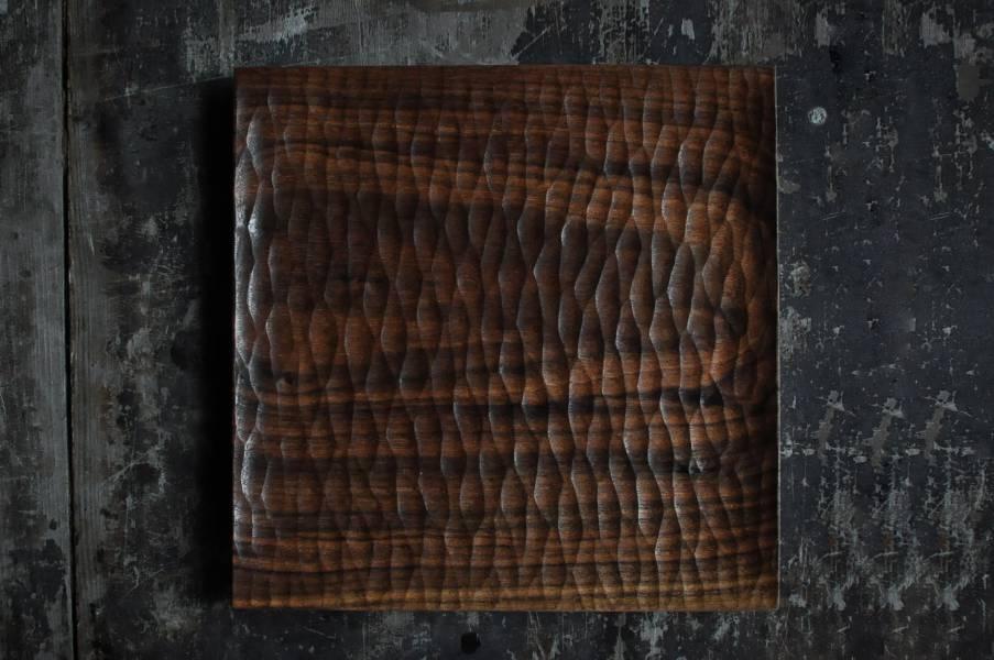 正方手刻木盤 / 茶盤
