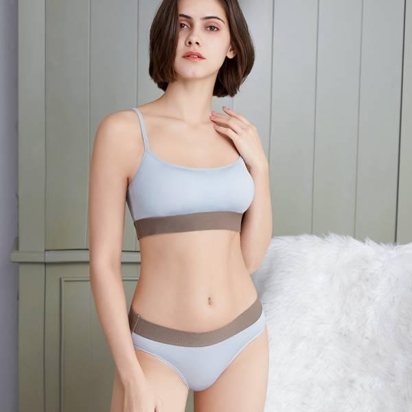 拼色女中腰內褲 可可/霧藍