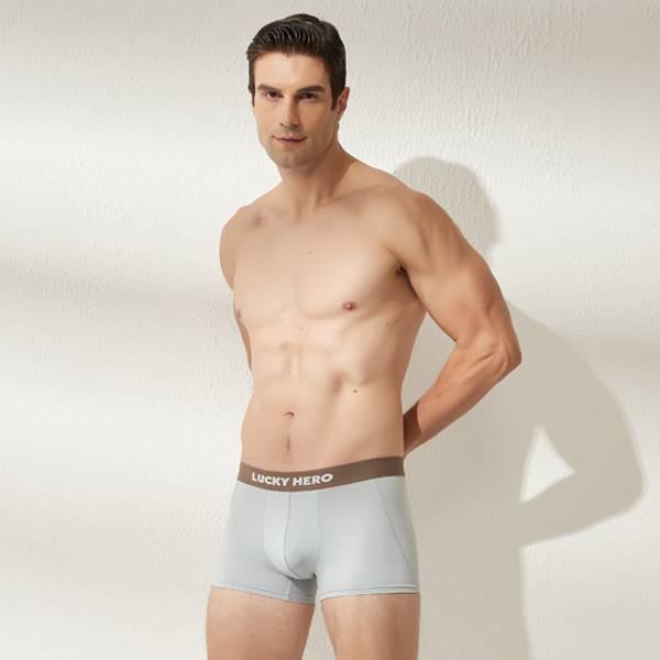 拼色男四角褲 可可/霧藍 超透氣,男士內褲,男性內褲,四角內褲,