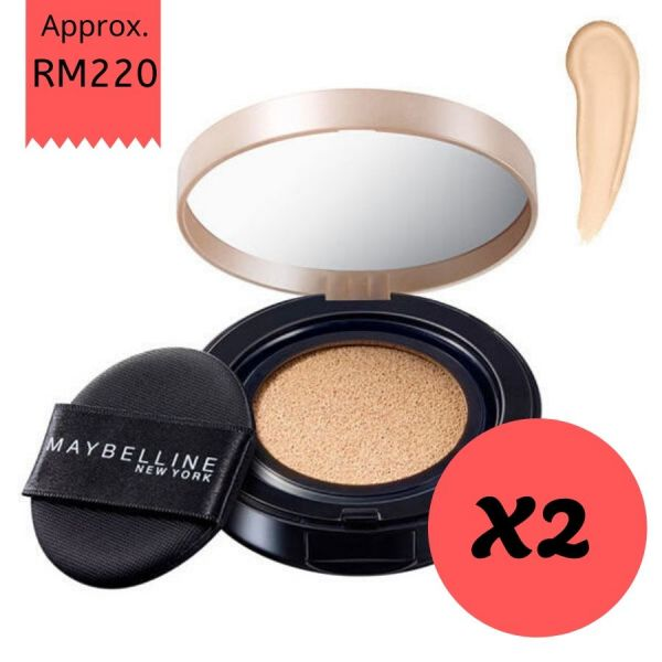 Maybelline Super BB Cushion Ultra Cover SPF50+ /PA++ 14g (01 Light/Natural Beige) X2 Maybelline,Super BB Cushion,Ultra Cover,SPF50++,01 Light,Natural Beige,8 benefits
