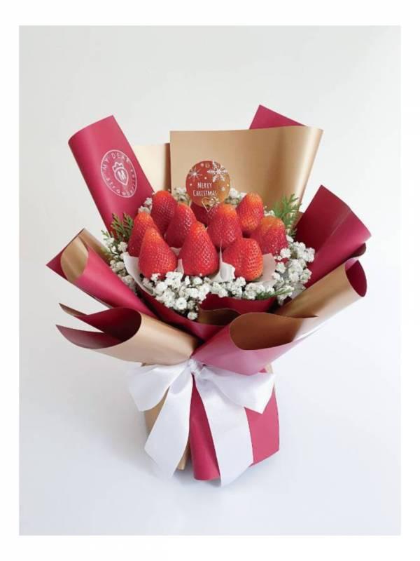 【聖誕限定】金勾杯小型聖誕草莓花束2.0 聖誕花束,聖誕禮物,草莓花束