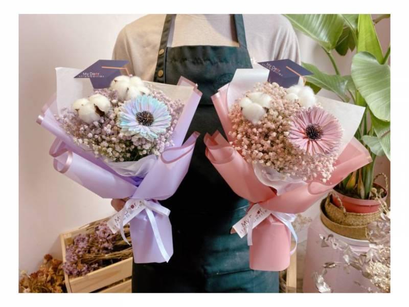 My Best Wish向日葵乾燥花畢業花束 畢業花束, 滿天星花束,乾燥花束