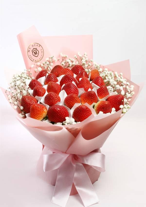 Summer love 粉色草莓花束 草莓花束,生日禮物,情人節花束,求婚花束