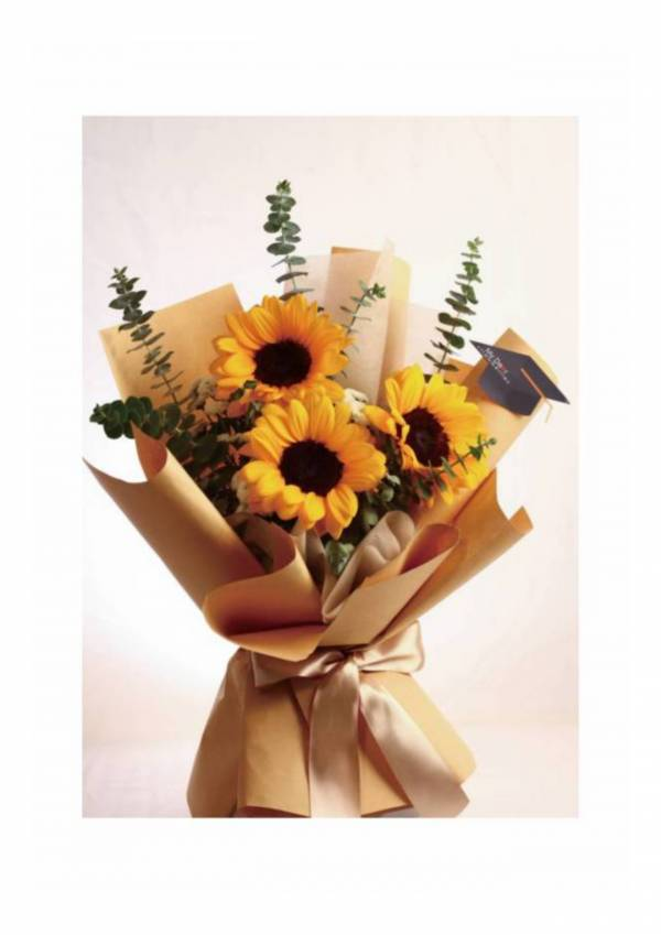 【NEW!送給畢業生】Best Wish向日葵花束小型 生日花束,告白花束,鮮花花束