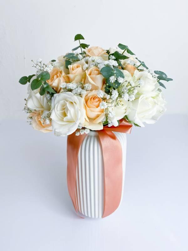 歐式花園香檳色系捧花 新娘捧花