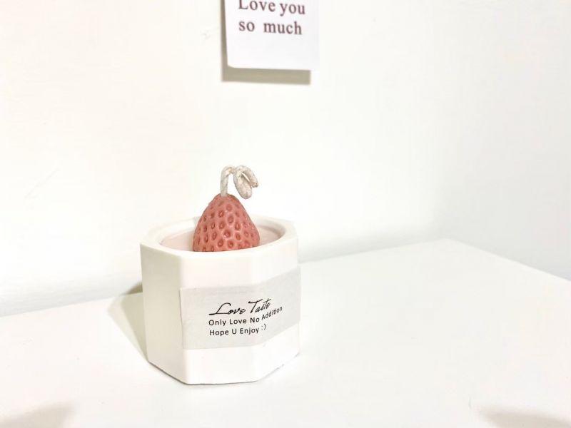 淡香草莓造型香氛蠟燭小型(小蒼蘭香) 草莓蠟燭,草莓香氛蠟燭