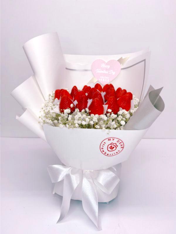 白色戀人草莓花束大型 草莓花束,白色情人節,情人節