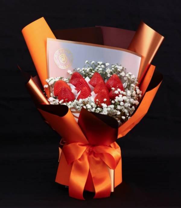 【母親節期間限定】愛馬仕橘母親節草莓花束 情人節花束,草莓花束,情人節禮物