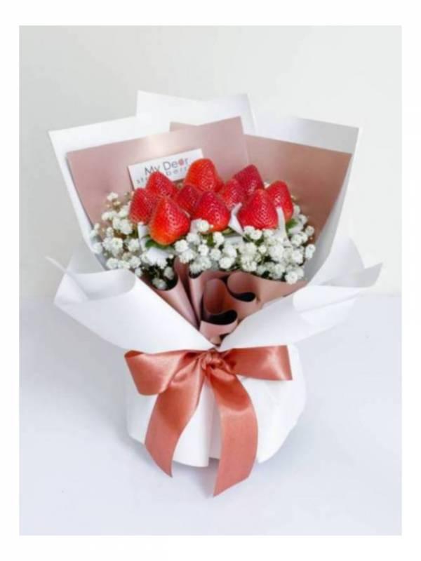 【七夕新款】夏戀玫瑰金草莓花束 草莓花束