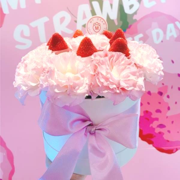 粉色泡泡草莓盆禮 草莓盆花,生日盆花禮