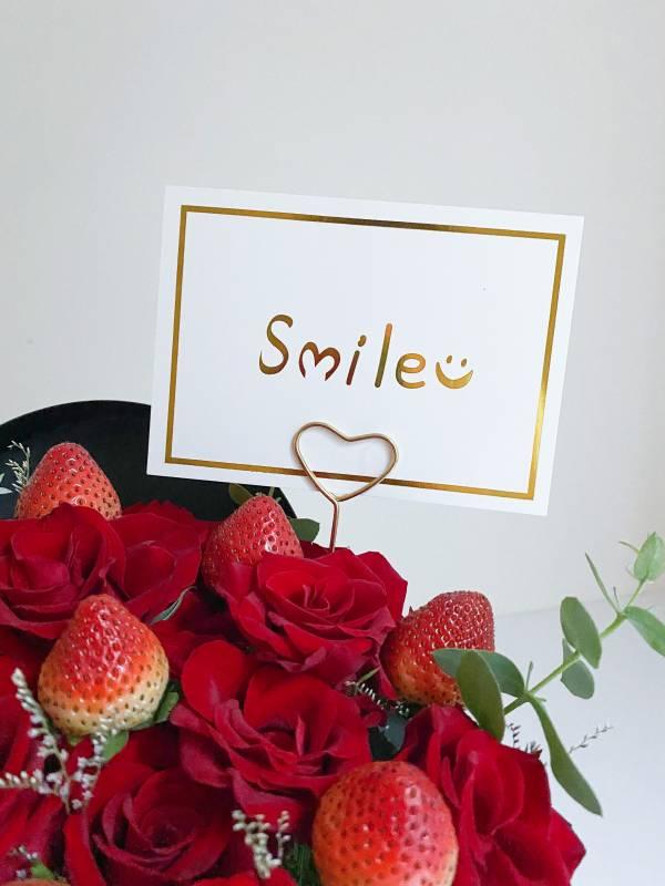 smile微笑白色燙金卡片(背面可寫字) 歐美簡約風卡片