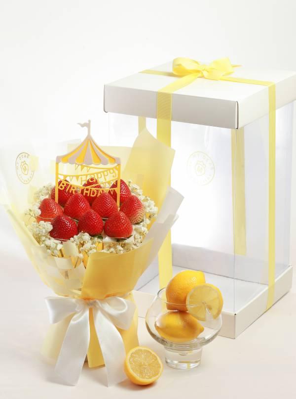 【七夕限量版】西西里檸檬草莓花束禮盒組 情人節花束,草莓花束,情人節禮物