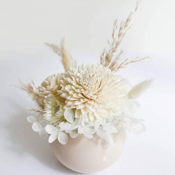 【永恆花】羽毛花園 永生盆花,永生玫瑰