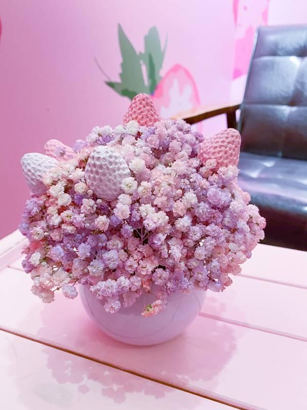【香氛盆栽】草莓香氛盆花 永生盆花禮,不凋花,香氛盆花,擴香石