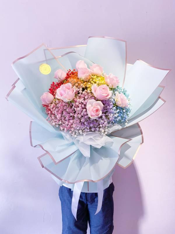 【鮮花花束】彩虹派對 草莓花束,巨型草莓花束,求婚花束,告白花束