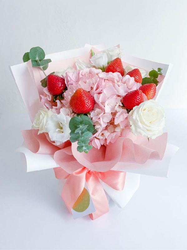 【七夕限定!宅配免運】L'Amour法式花園香檳粉草莓花束 草莓花束,情人節花束,法式花園
