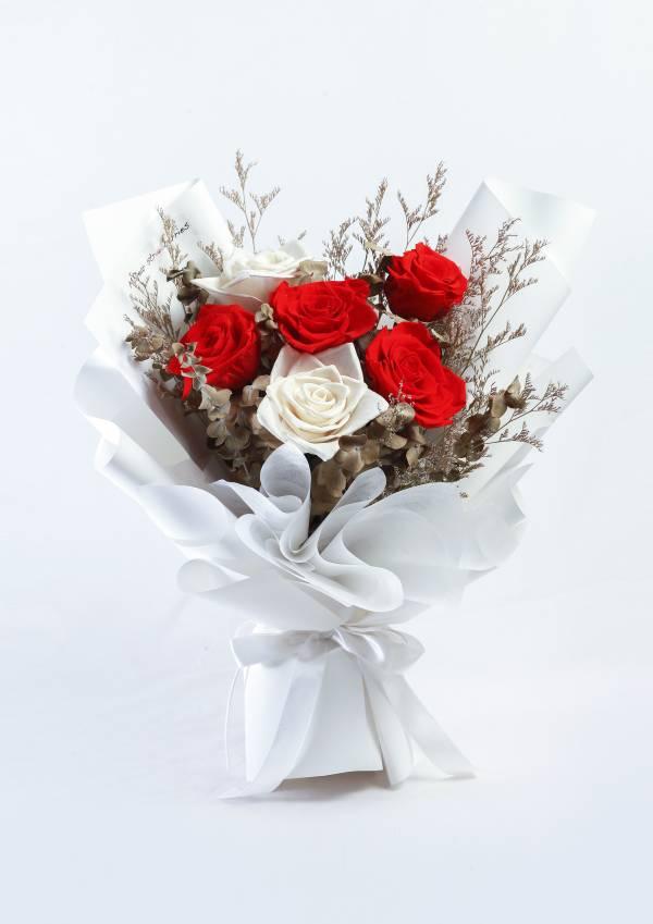 【永恆花】波士頓花園 永生花束,永生玫瑰