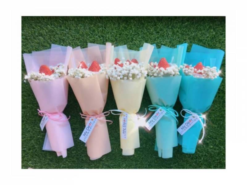 彩虹草莓花束(一組五束) 抽獎禮,探房禮,草莓花束,伴娘花束