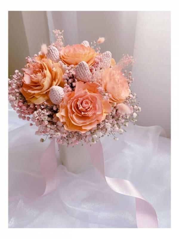 甜美粉乾燥橘香氛捧花 新娘捧花,乾燥捧花,香氛捧花,永生花捧花,客製化