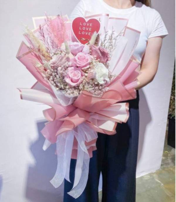 【永恆花】安納西 永生花束,永生玫瑰