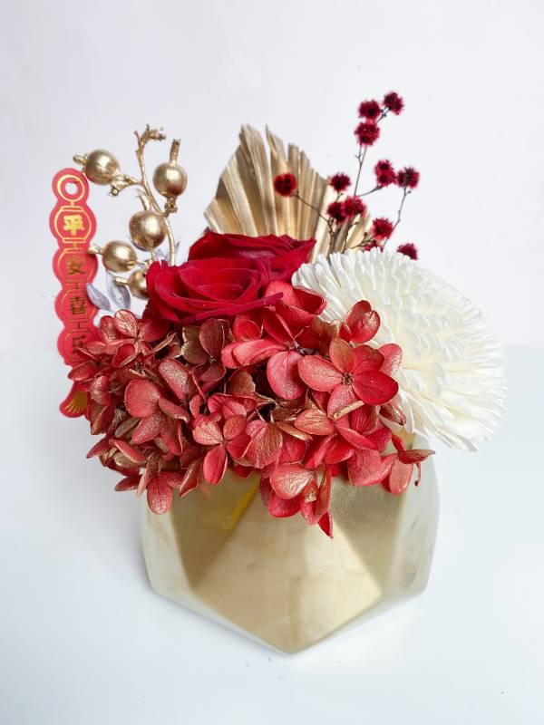 【迎春永生盆花】福牛賀新春 永生盆花,永生玫瑰