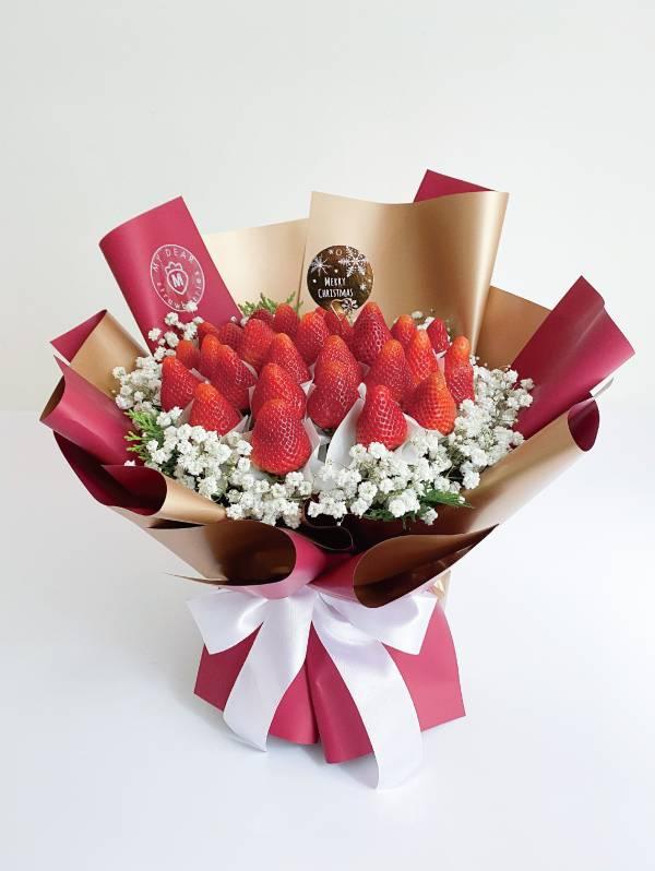 【聖誕限定】金勾杯大型聖誕草莓花束2.0 聖誕花束,聖誕禮物,草莓花束