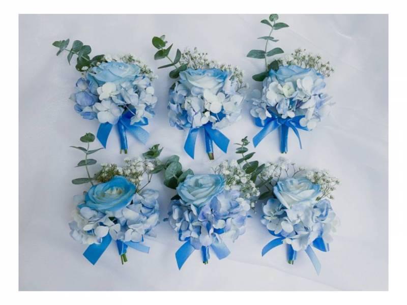 天空藍胸花(一組六個) 結婚胸花