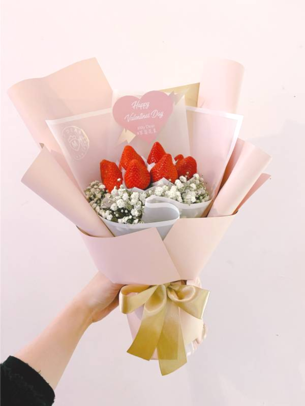 粉色泡泡草莓花束 草莓花束