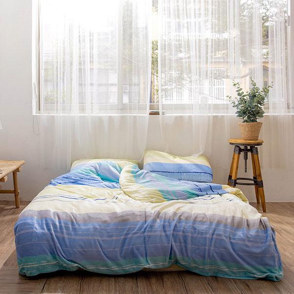 【青鳥家居】法蘭絨舖棉床包被套四件組-斯里多得(雙人)