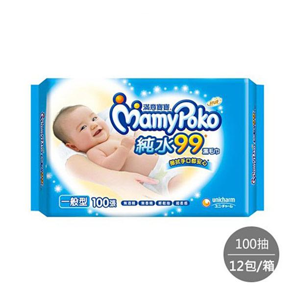 【滿意寶寶】天生柔嫩溫和純水一般型溼巾-補充包(100入 x 12包/箱)