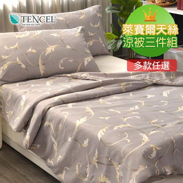 【青鳥家居】台灣製TENCEL 天絲涼被枕套三件組(多款任選均一價)