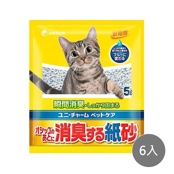 【Unicharm】日本消臭大師尿尿後消臭紙砂5L x6入