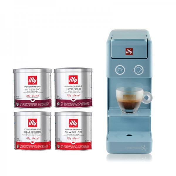 義大利 illy Y3.2 膠囊咖啡機-典雅藍 送42顆膠囊