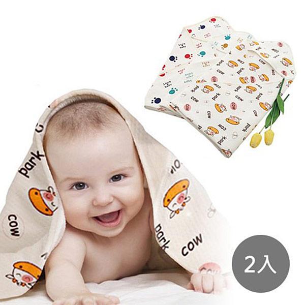 嬰兒寶寶連帽包巾/浴巾x2入