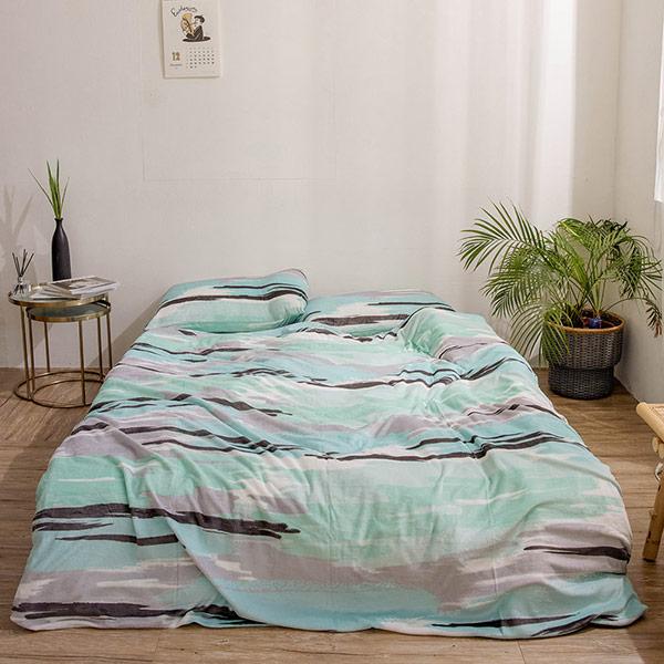 【青鳥家居】法蘭絨舖棉床包被套四件組-泊爾(雙人)