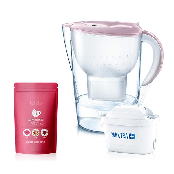 【BRITA】馬利拉濾水壺(嫩裸粉) XL+午茶夫人 洛神玫瑰飲 4g*12入茶包