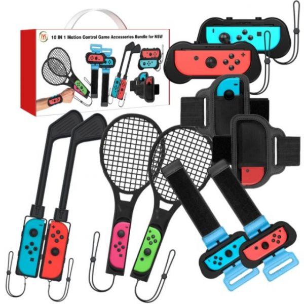 里歐街機 NS SWITCH 10合1體感運配套裝組 跳舞腕帶 腿帶 網球拍 高爾夫球桿