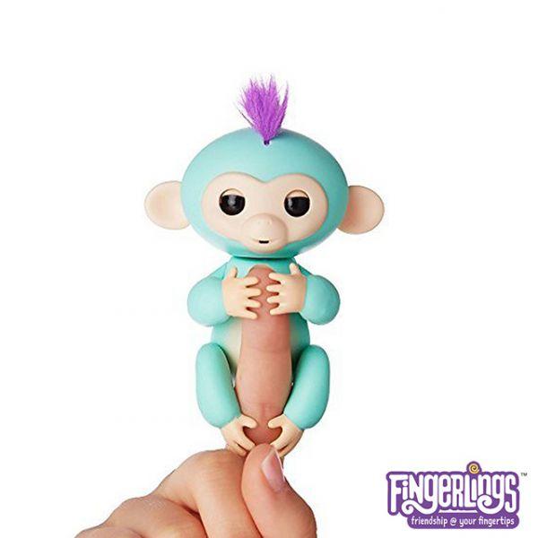 互動手指猴-綠色 美國正版互動手指猴 Fingerlings 電子智能竉物猴 黑色