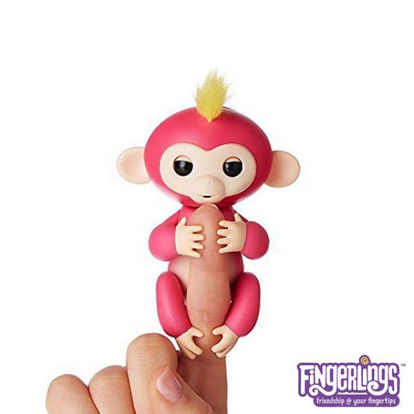 互動手指猴-粉色 美國正版互動手指猴 Fingerlings 電子智能竉物猴 黑色