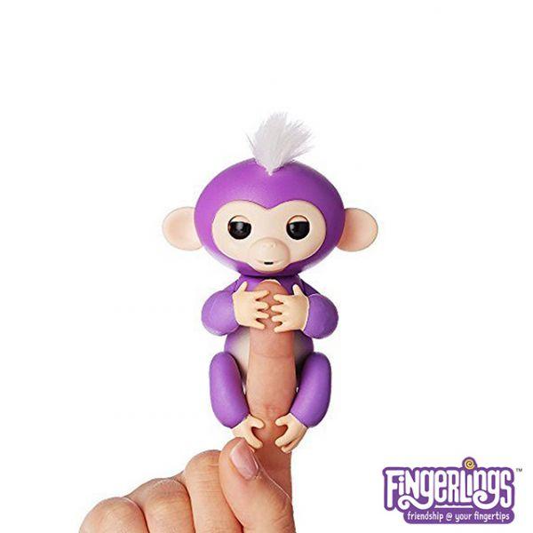 互動手指猴-紫色 美國正版互動手指猴 Fingerlings 電子智能竉物猴 黑色