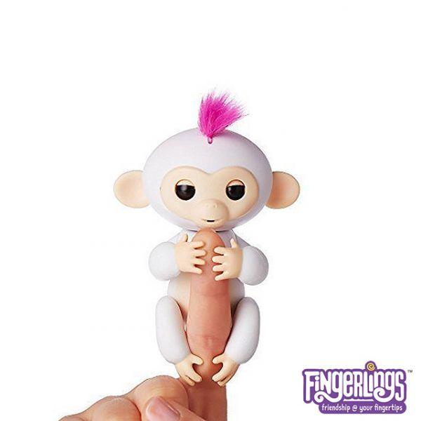 互動手指猴-白色 美國正版互動手指猴 Fingerlings 電子智能竉物猴 黑色