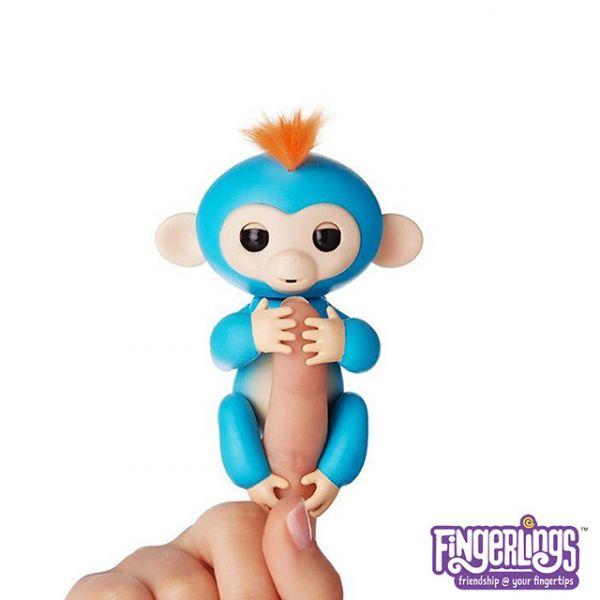 互動手指猴-藍色 美國正版互動手指猴 Fingerlings 電子智能竉物猴 黑色