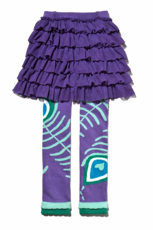 【美國 Luna Leggings 】雪紡紗裙有機棉內搭褲(小孔雀Peacock Tutu) 有機棉, 保暖加厚, 厚磅, 溫暖力,  百搭打底