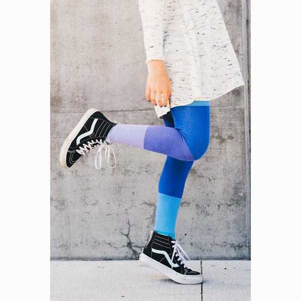 【美國 Luna Leggings 】有機棉褲襪-(繽紛雲彩Cloud) 有機棉, 保暖加厚, 厚磅, 溫暖力,  百搭打底